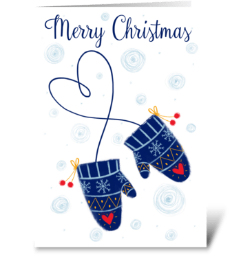 Christmas mittens greeting card