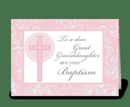 Great Granddaughter Baptism, Pink greeting card