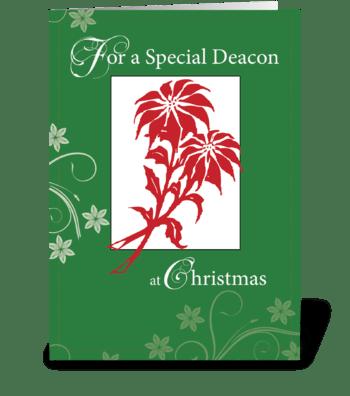 Deacon, Christmas Poinsettias greeting card