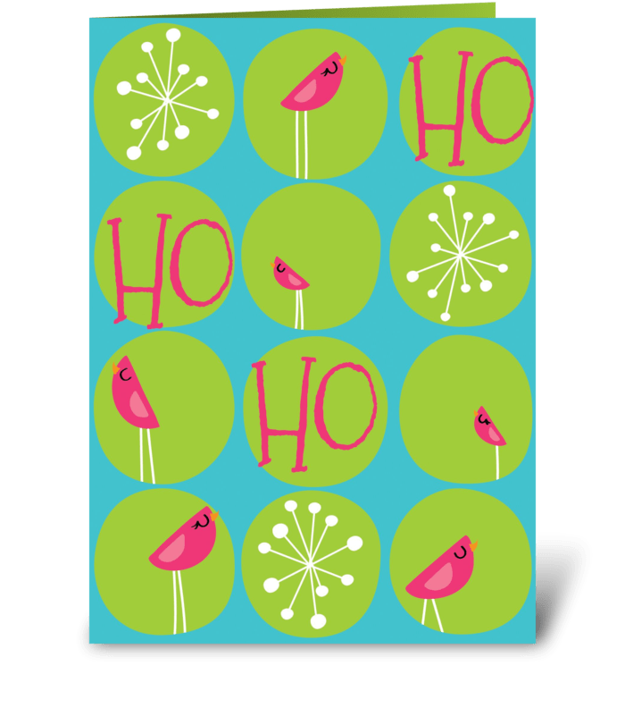 Ho Ho Ho Pink Holiday Birds greeting card