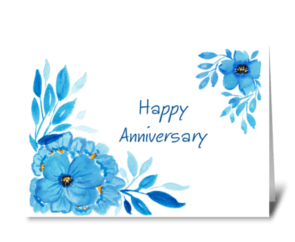 Happy Anniversary Blue Flowers greeting card