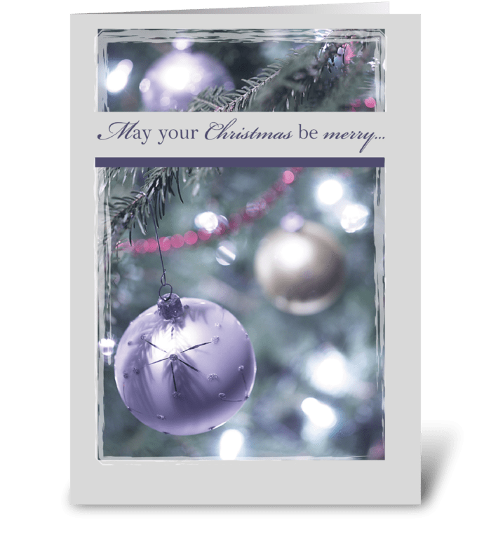 Elegant Silver Balls Christmas greeting card