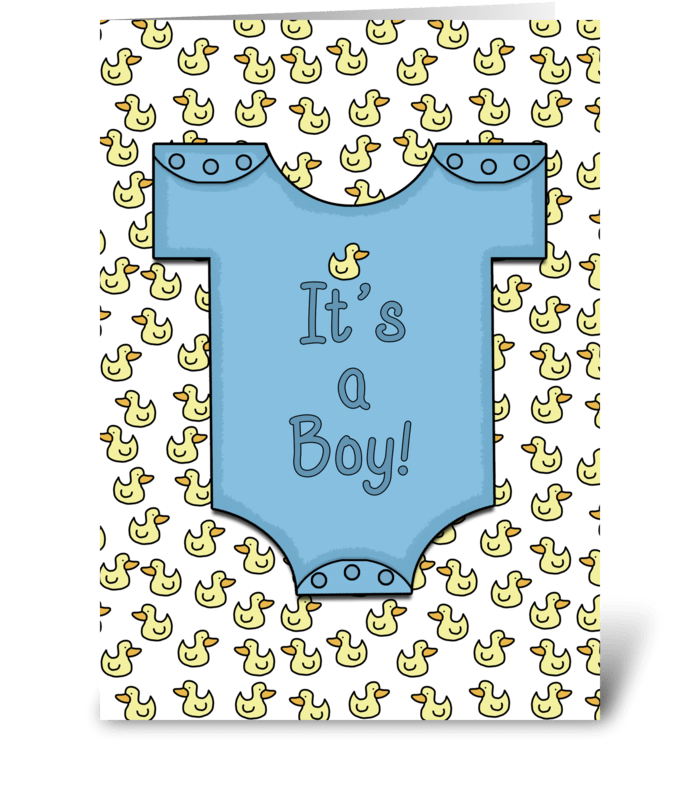 It's a Boy-Blue Outfit Ducky Collage greeting card