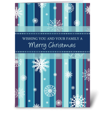 Merry Christmas Stripes and Snowflakes greeting card