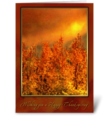 Golden Fall Sunset Thanksgiving Card greeting card