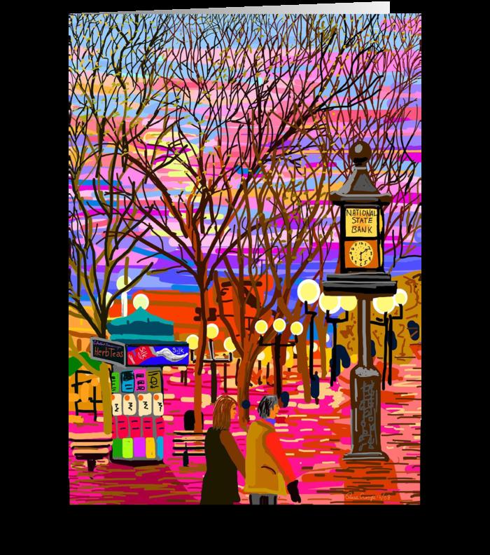 Pearl Street Sunset greeting card