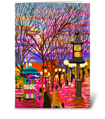 Pearl Street Sunset greeting card