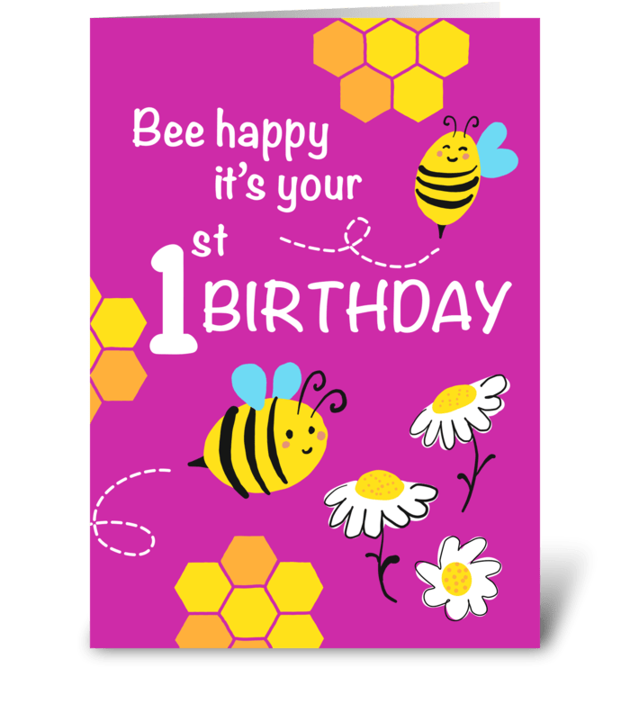 Bee Happy 1st birthday greeting card