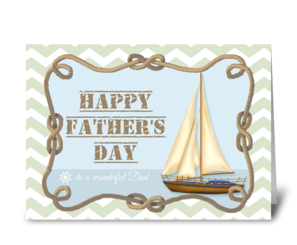 Father's Day-Sailboat and knotted rope greeting card
