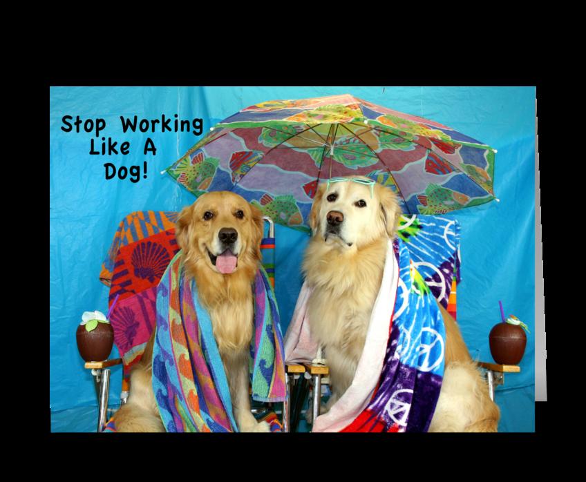 Working Like A Dog Birthday greeting card