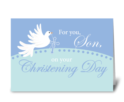 Son Christening Dove on Blue greeting card