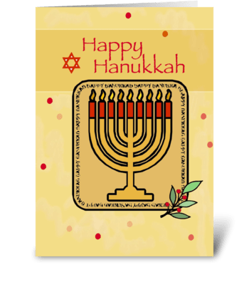 Red and Gold Menorah on Hanukkah greeting card