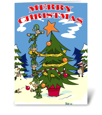 Elves Decorating a Christmas Tree greeting card