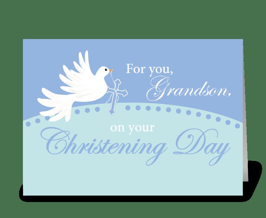Grandson Christening Dove on Blue greeting card