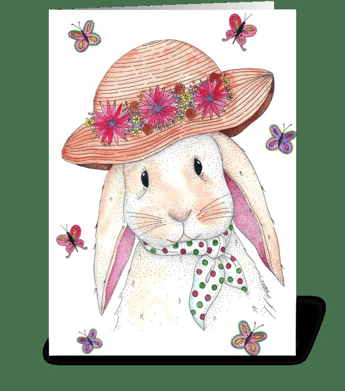 Spring Bunny Rabbit greeting card