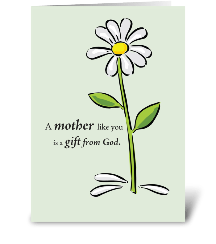 Mother's Day Religious Green Daisy greeting card