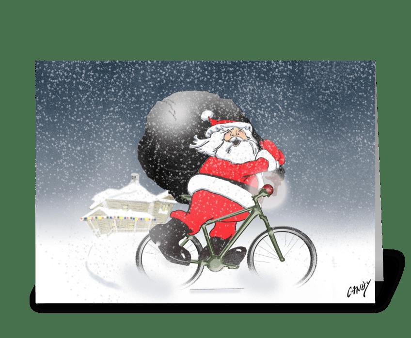 Santa cycling! greeting card