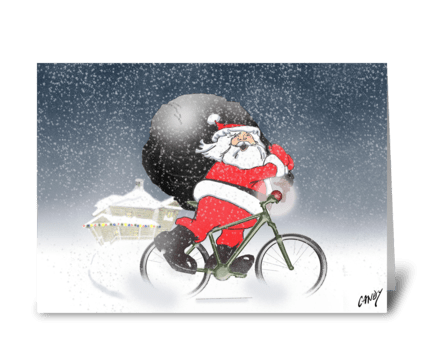 Santa cycling! greeting card