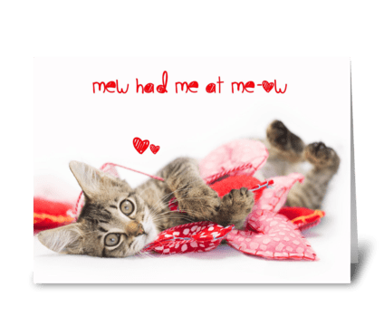 Tabby Kitten Meow Valentine greeting card
