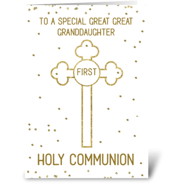 Great Great Granddaughter Holy Communion greeting card