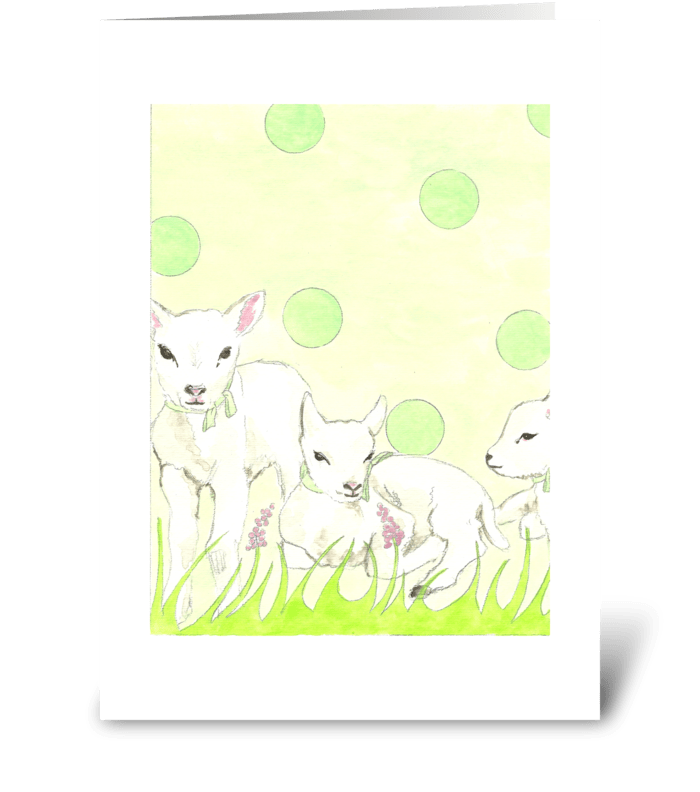 Polka Dot Lambs 2 greeting card