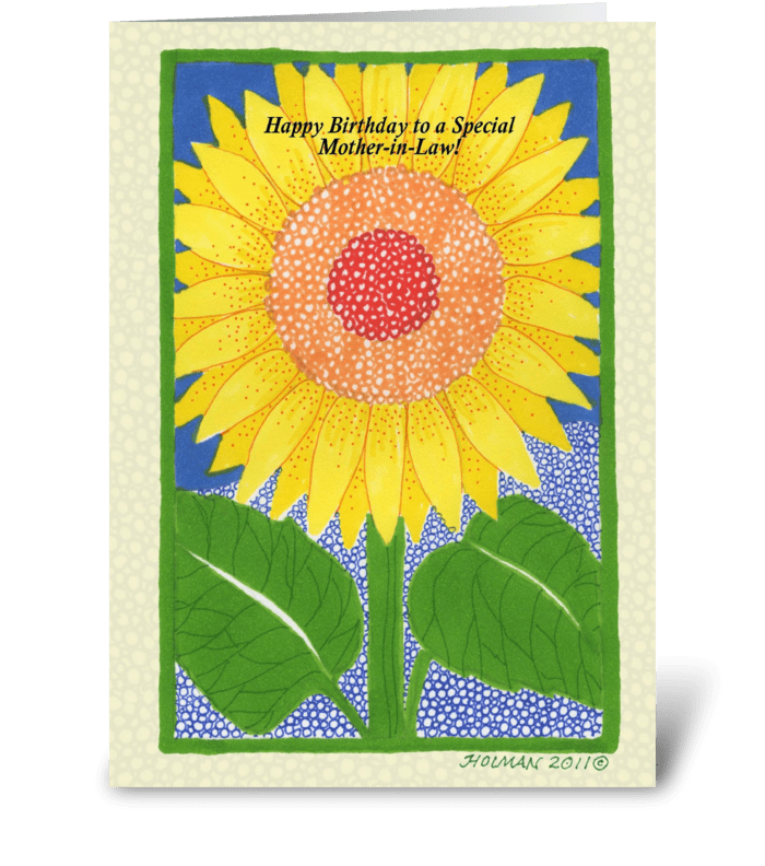 Happy Birthday Mother-in-Law Sunflower greeting card