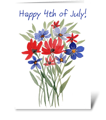 Happy 4th of July Watercolor Card Print greeting card