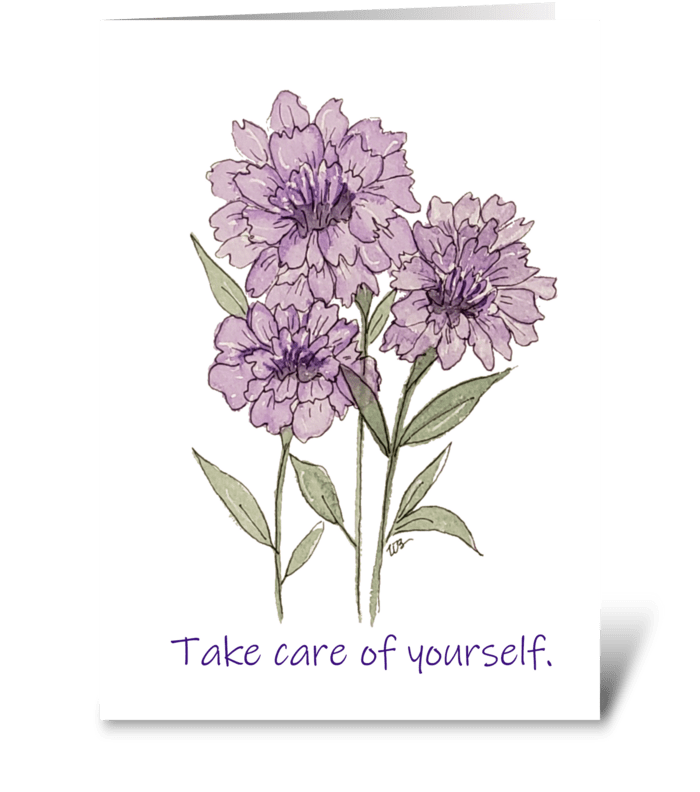 Purple Carnation Watercolor Take Care greeting card