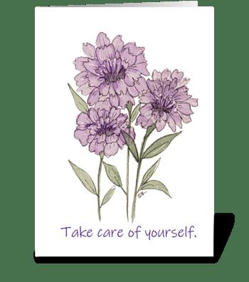 Purple Carnation Watercolor Take Care greeting card