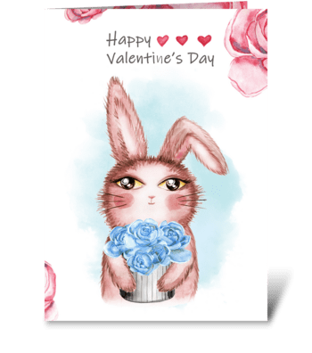 Cute bunny rabbit. greeting card