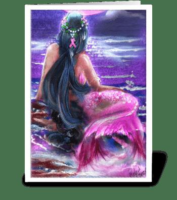 Survivor Mermaid in Pink greeting card