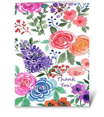 Thank You Multi Floral Watercolor Print greeting card