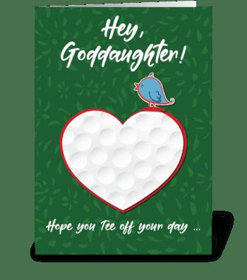Goddaughter Golf Sports Heart Valentine  greeting card