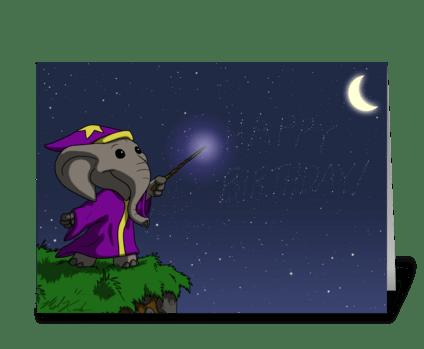 Wizard Elephant greeting card