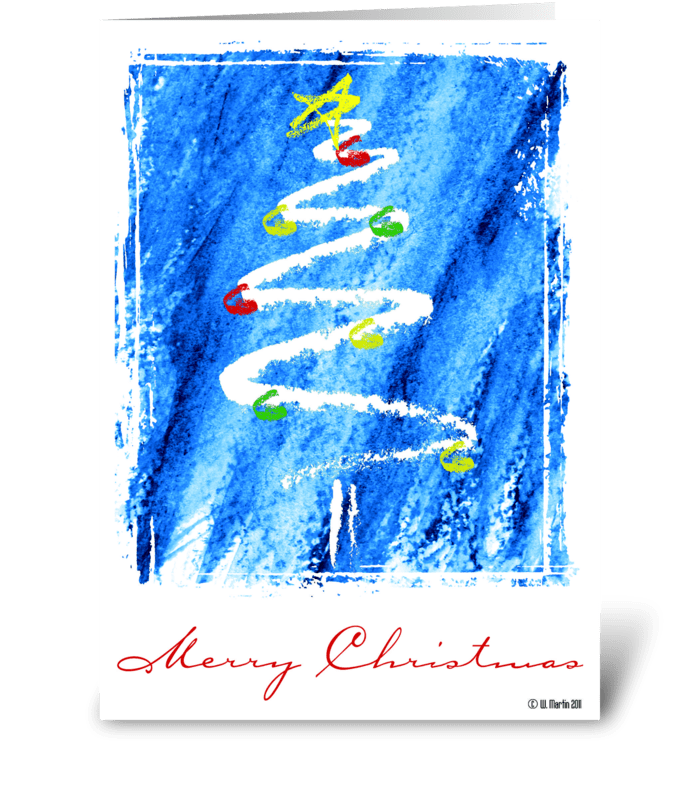 Sketched Christmas Tree Christmas Card greeting card