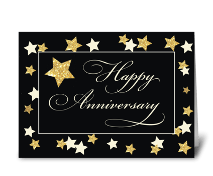 Employee Anniversary Black Gold Effect greeting card
