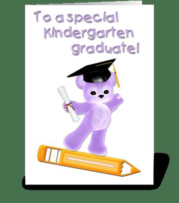 Kindergarten Graduate, Purple Bear  greeting card