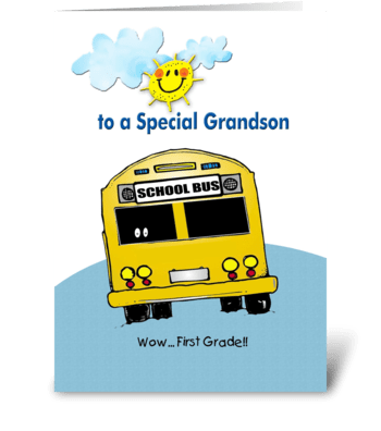 First Grade, to Grandson greeting card