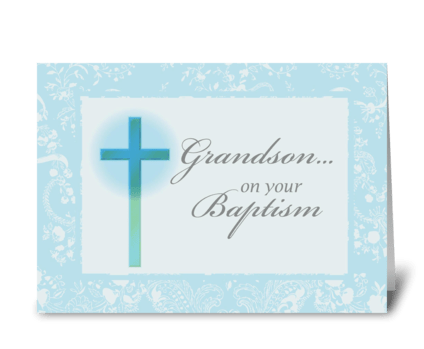 3881 Grandson Baptism, Blue, Lace greeting card