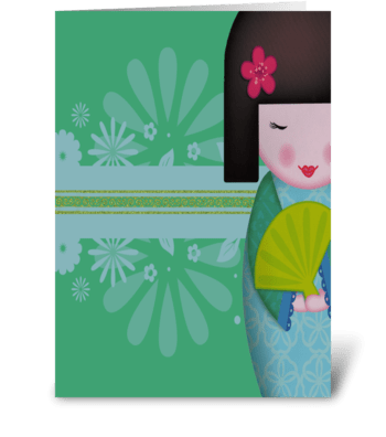 Little Geisha Blue Full greeting card