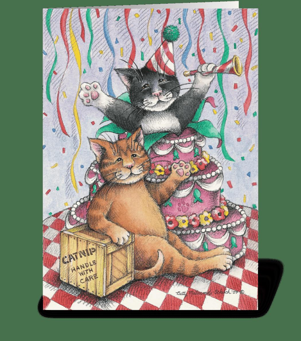 Birthday Cats W Cake 1