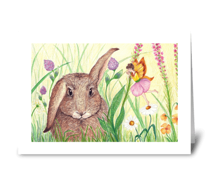 Bunny with Spring Fairy greeting card