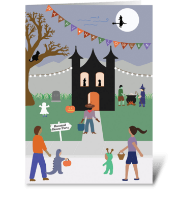 Halloween Haunted House Party greeting card