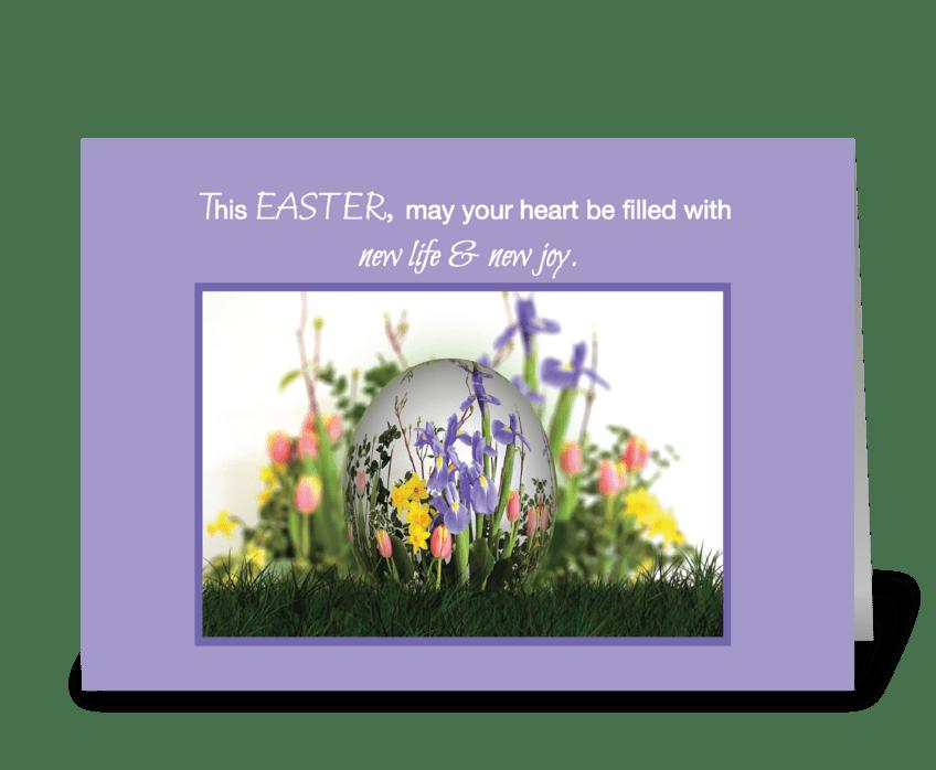 Easter Blessings Egg in Flowers greeting card
