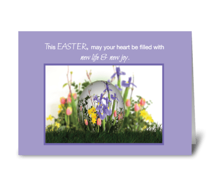 Easter Blessings Egg in Flowers greeting card
