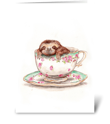 Sloth in a Teacup greeting card