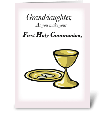 Granddaughter, First Holy Communion greeting card