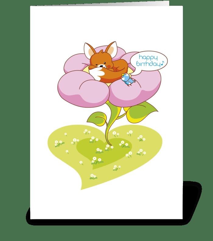 Birthday_fox'n'bird-flower greeting card