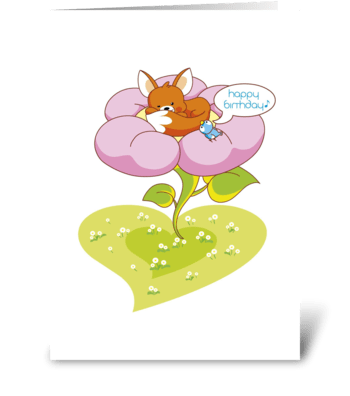 Birthday_fox'n'bird-flower greeting card
