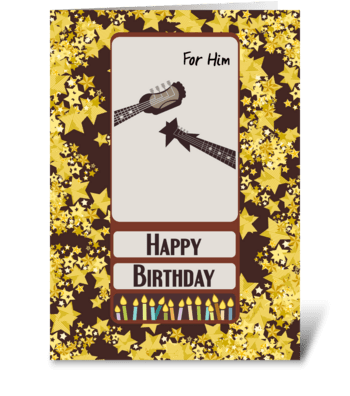 For Him Guitar Necks Headstocks Happy Bi greeting card